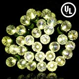 Christmas Lights - 70 LED String Lights Green Wire - Outdoor/Indoor Lights for Fairy Patio - Tree Lights UL listed - Warm White - Diamond Glass Bulbs19FT