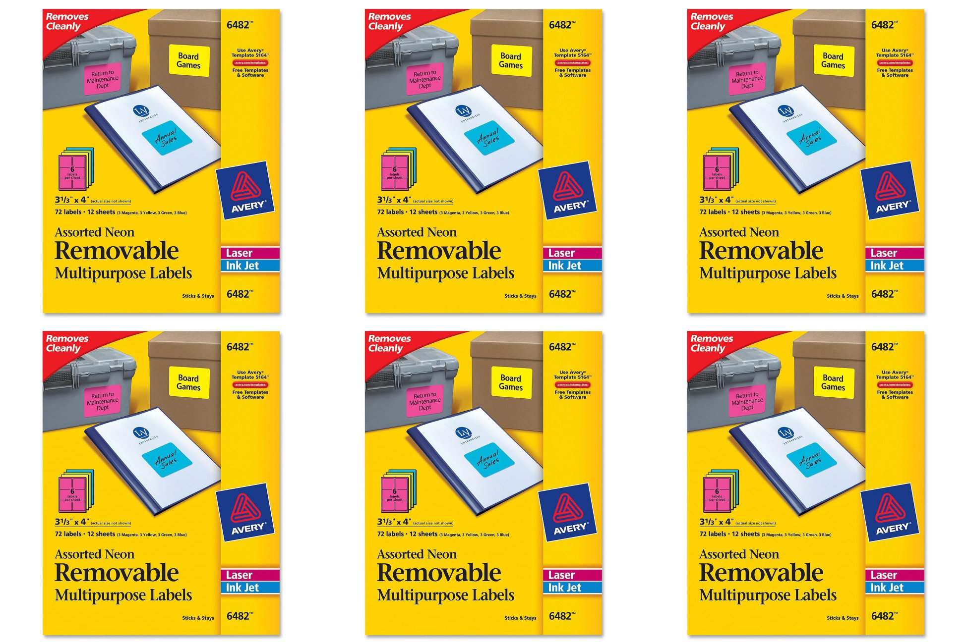 Avery Removable Multipurpose Labels, Assorted Neon, 6 Packs