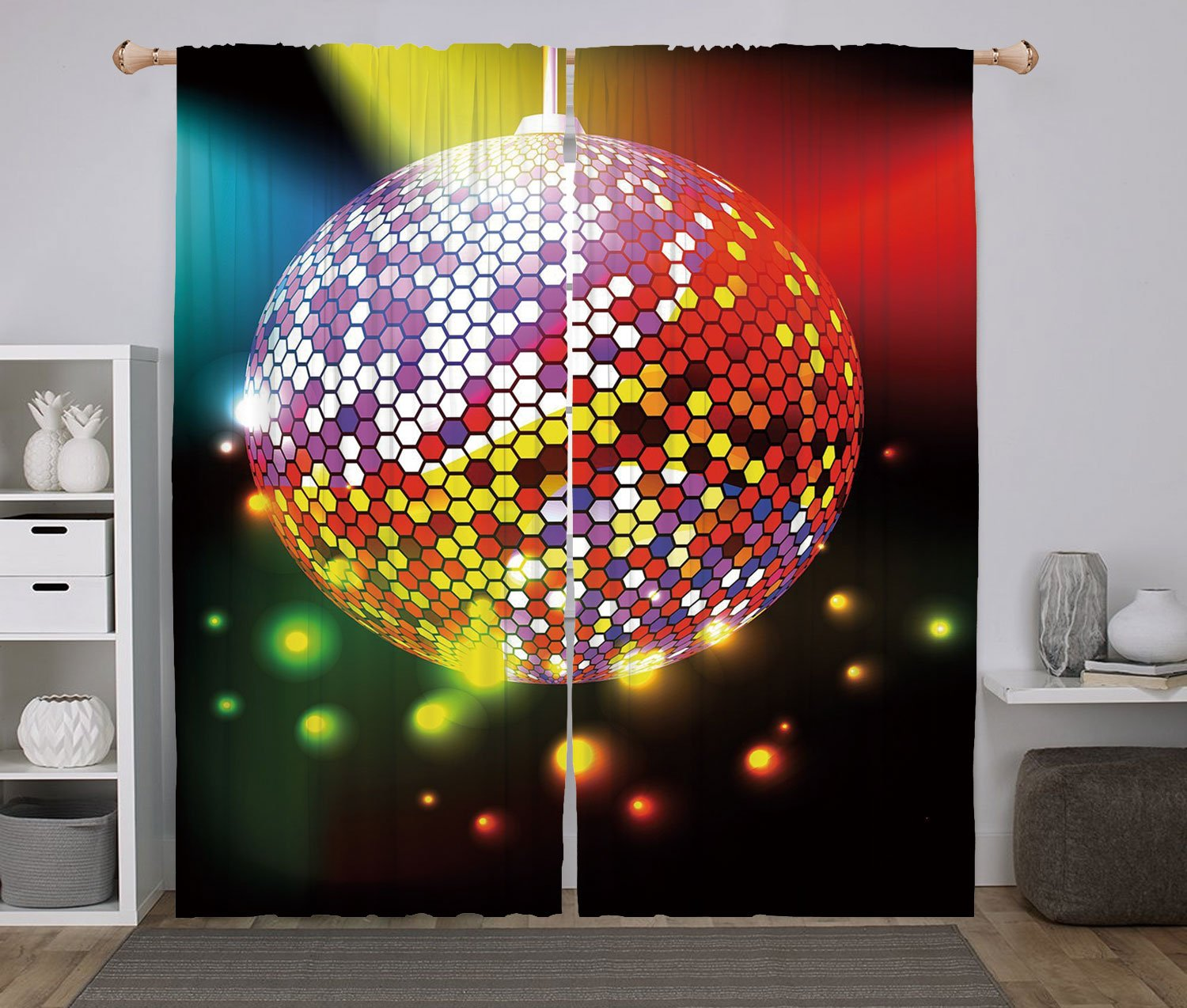 2 Panel Set Window Drapes Kitchen Curtains,Popstar Party Vibrant Colorful Disco Ball Nightclub Celebration Party Dance and Music Print Decorative Multicolor,for Bedroom Living Room Dorm Kitchen Cafe