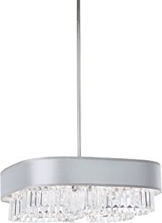 """product image for Schonbek SQ8319N-401A1 6-Light Pendant in Stainless Steel with Spectra Crystal and Zeppa Silver Fabric Shade, Square 19"""" X 3.5"""""""