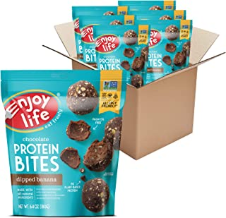 product image for Enjoy Life Dipped Banana Chocolate Protein Bites, Dairy Free Snacks, Soy free, Nut free, Gluten free, Non GMO, Vegan, Allergy Friendly Snacks, 6 Packs