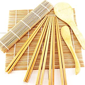 YG_Oline Bamboo Sushi Making Kit With 2 Sushi Bamboo Rolling Mat Spoon and 5 Pairs Bamboo Chopsticks For Sushi Beginners