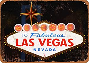 PaBoe 8 x 12 Metal Sign - Welcome to Fabulous Las Vegas - Vintage Decorative Tin Sign