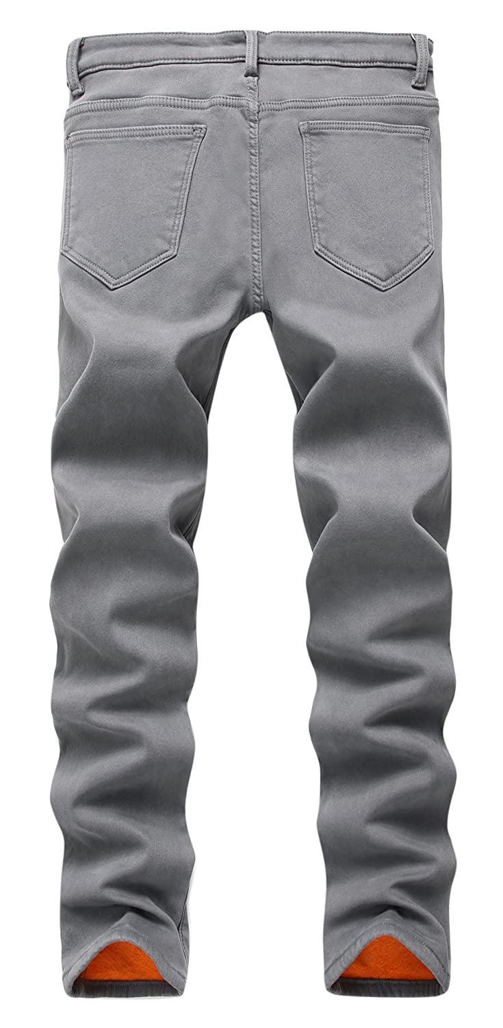 c9f7cd82 FREDD MARSHALL Men's Fleece Lined Skinny Winter Slim Fit Thicken Warm  Stretch Jeans at Amazon Men's Clothing store: