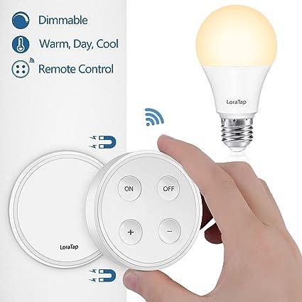 Wireless Dimmer Set E27 LED Lampe | Dimmschalter Lichtschalter Fernbedienung in einem | Warmweiß Neutralweiß Tageslichtweiß in einem | kabellos