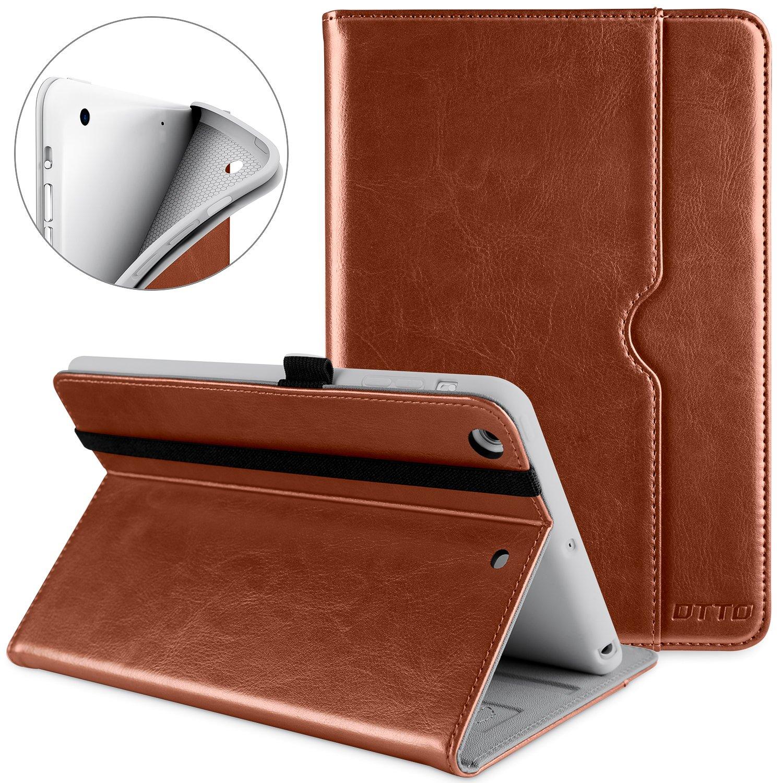 DTTO iPad Mini 1 2 3 Case, Premium Leather Folio Stand Cover Case with Multi-Angle Viewing and Auto Wake-Sleep Function, Front Pocket for Apple iPad Mini 1/Mini 2/Mini 3 - Brown