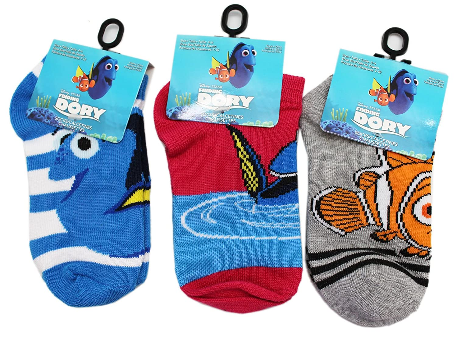 Amazon.com: Disney Pixars Finding Dory Assorted Kids Sock Collection (Sock Size 6-8.5, 3 Pairs): Clothing