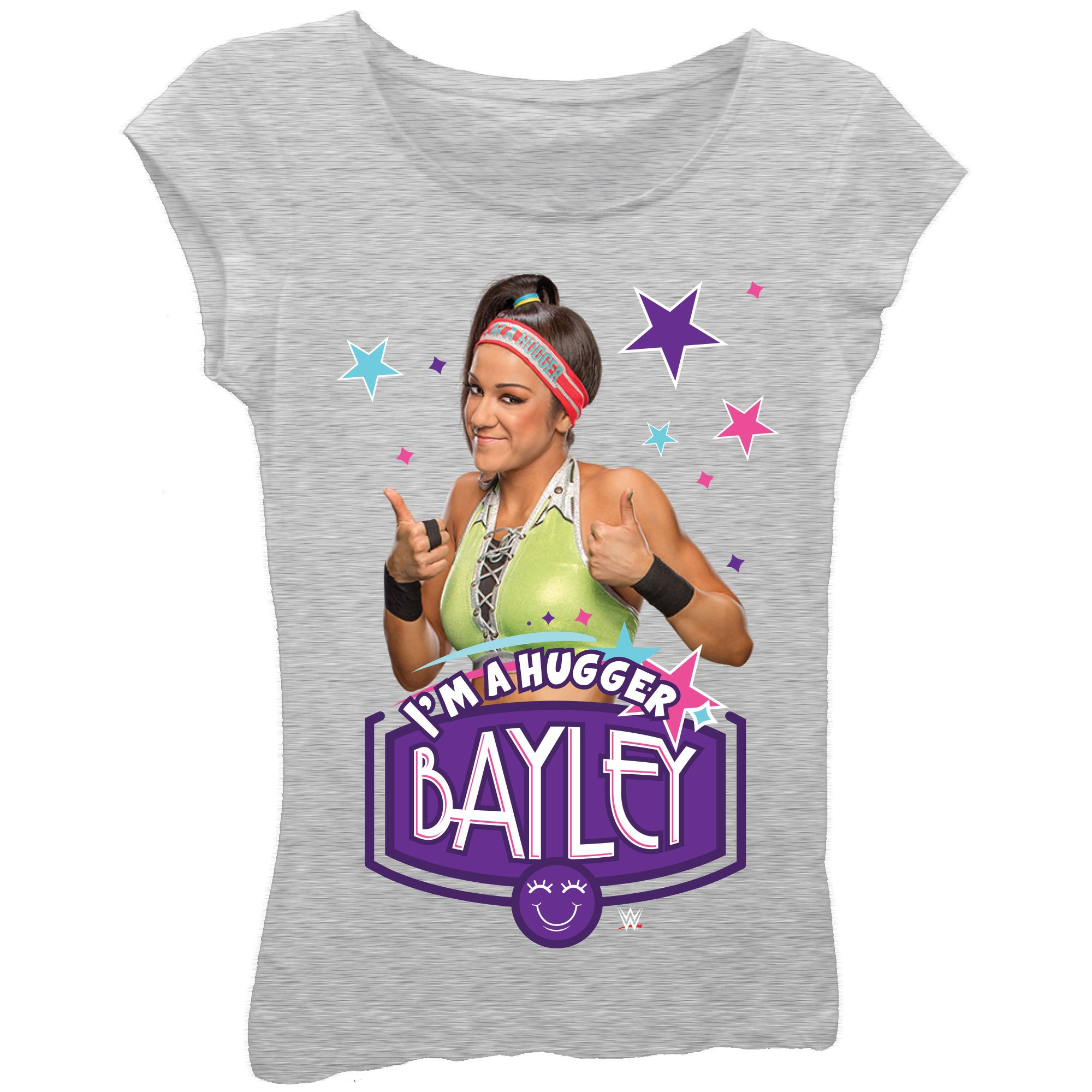 Bayley I'm a Hugger Superstar Girls Kids Grey T-Shirt-4