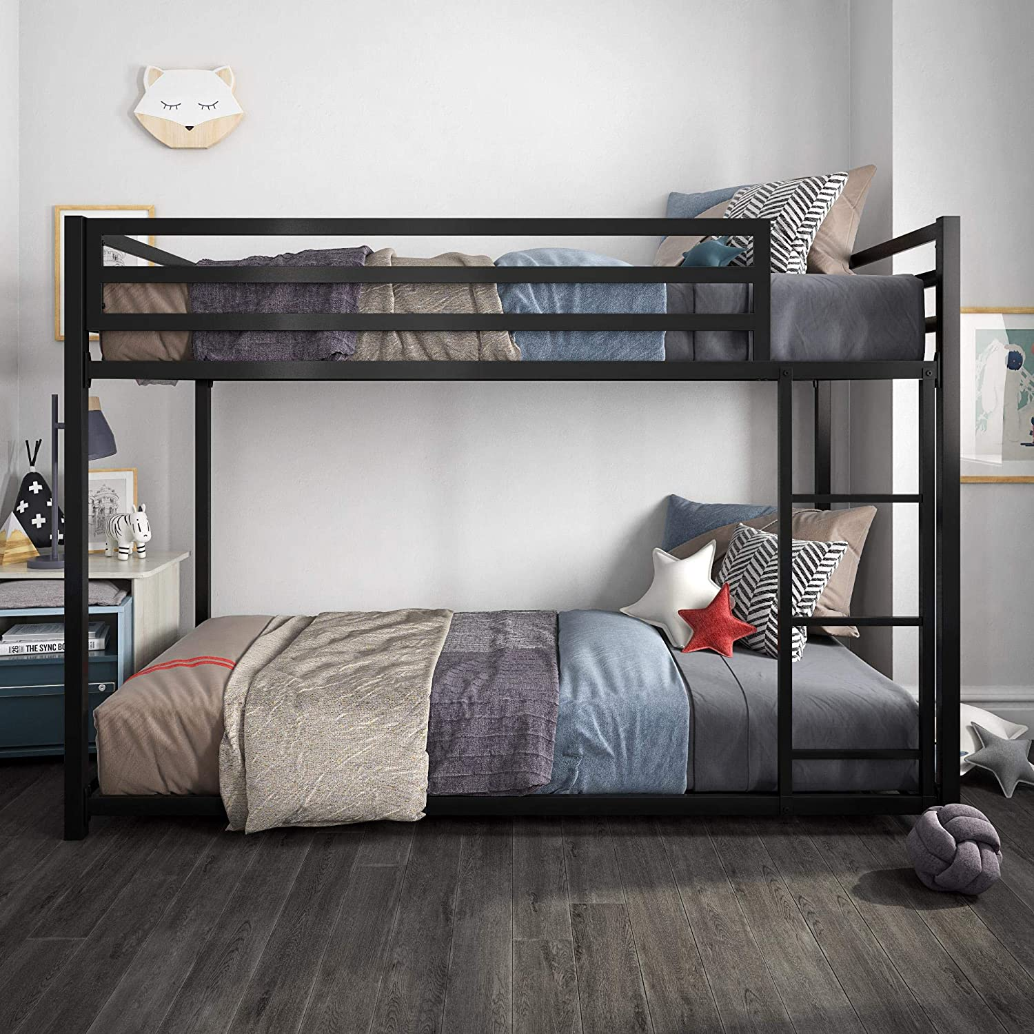 Twin-Over-Full Silver DHP 4304419 Miles Metal Twin//Full Bunk Bed