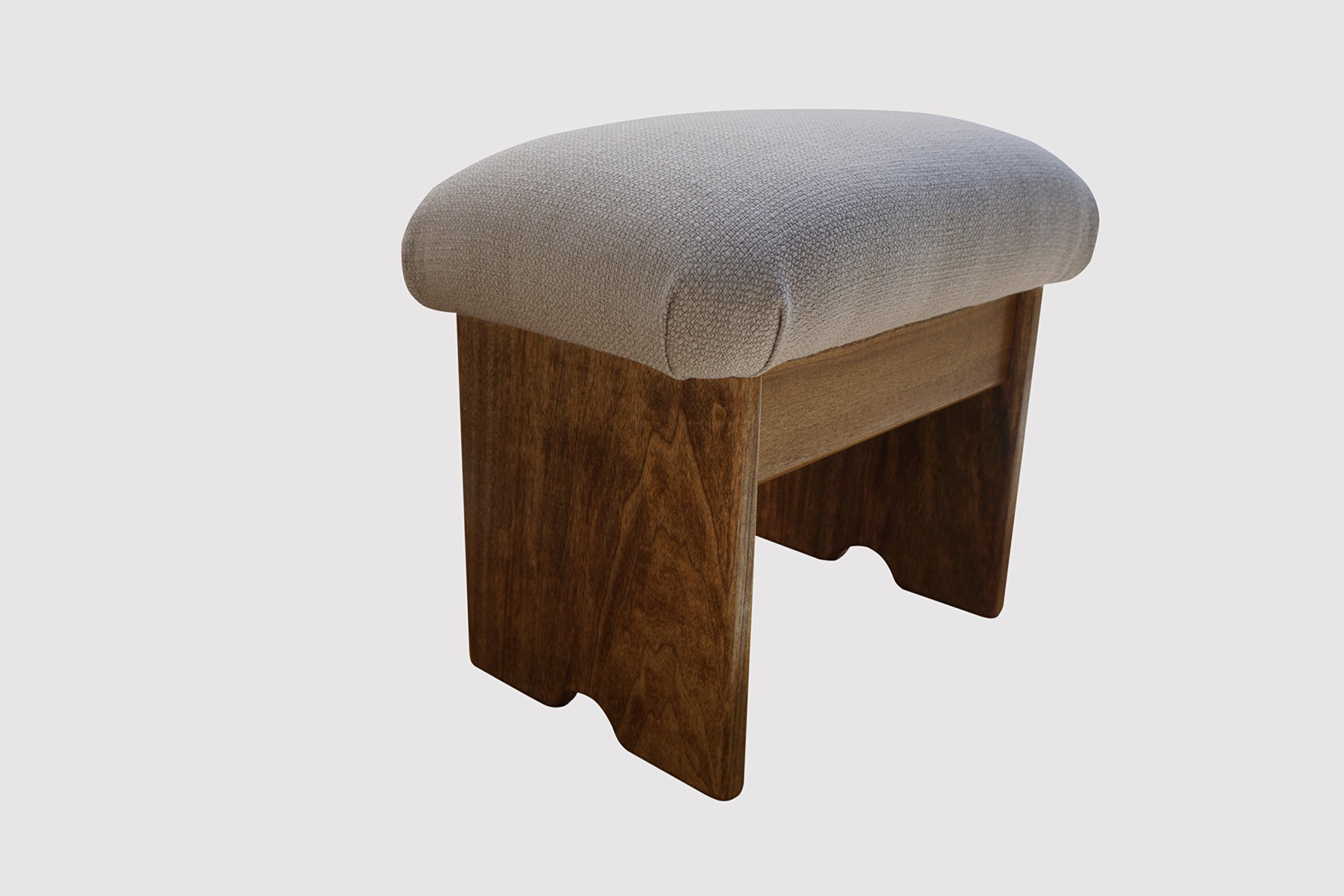 KR Ideas Regular Padded Foot Stool, 12'' Tall Malibu Sea Salt, Maple Stain (Made In The USA)