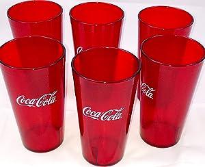 New (6) Coke Coca Cola Restaurant Red Plastic Tumblers Cups 16oz Carlisle