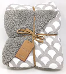 ReLIVE Prose Amsterdam Nacht Reversible 50-by-60 Inch Luxury Berber Throw Blanket, Greystone Scales
