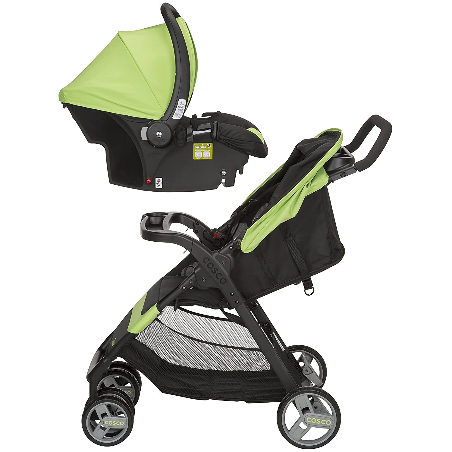 Cosco Simple Fold Travel System with Light N Comfy Infant Car Seat, Bright Lime