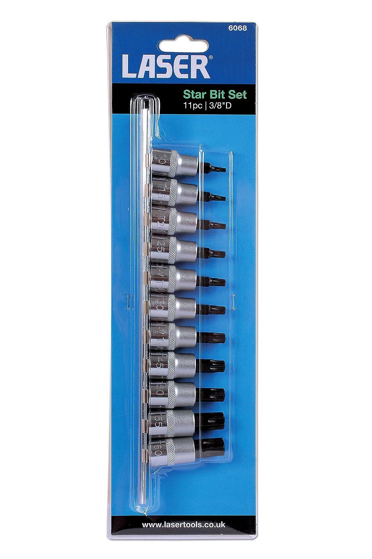 """Laser Tools Star Bit Set 11pc 3//8/""""D 6068 Tamperproof"""