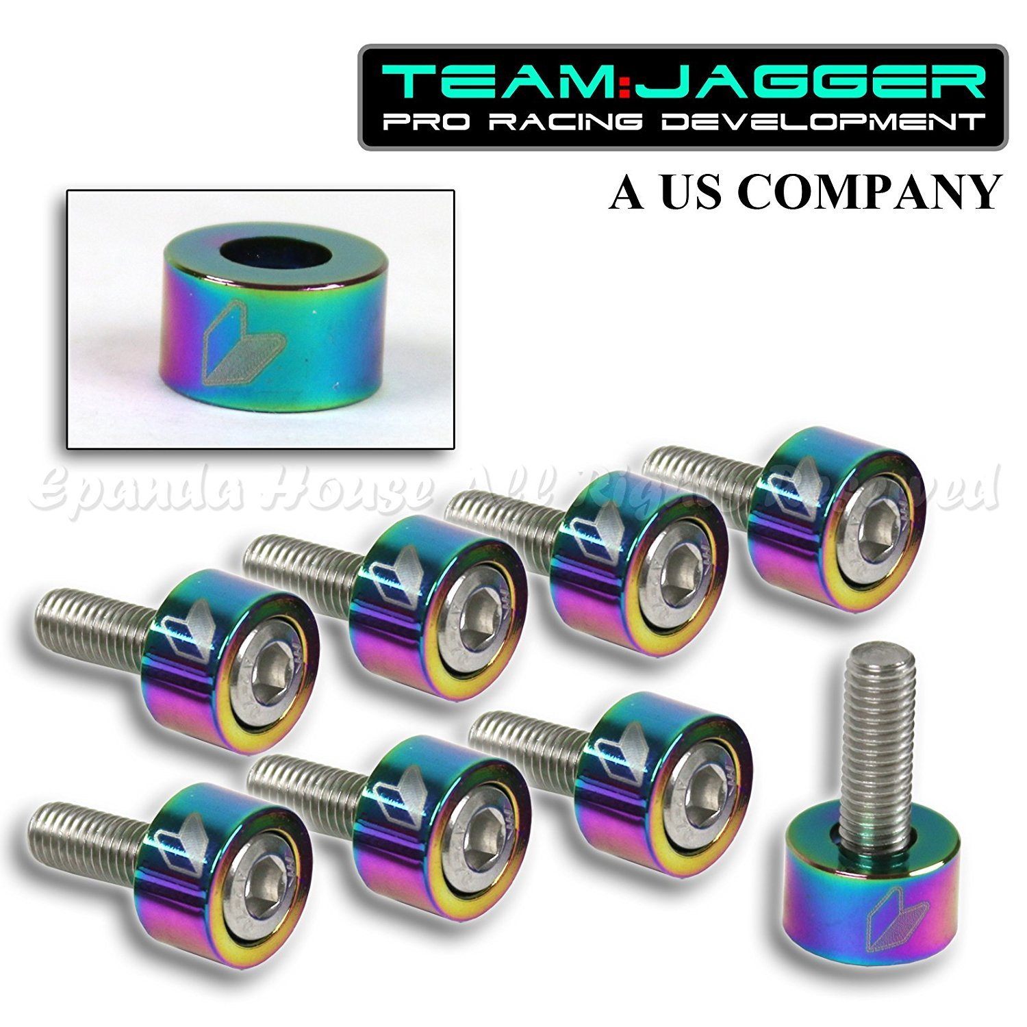FOR 01-06 RSX DC5 JDM LOGO 9PC 8MM BOLTS HEADER CUP WASHERS BILLET ANODIZED NEO
