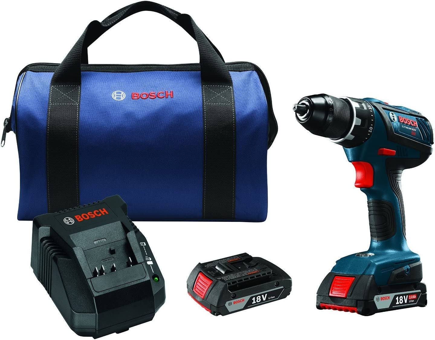 Bosch 18V Compact Tough ½ In. Drill/Driver Kit DDS181A-02 with SlimPack Batteries