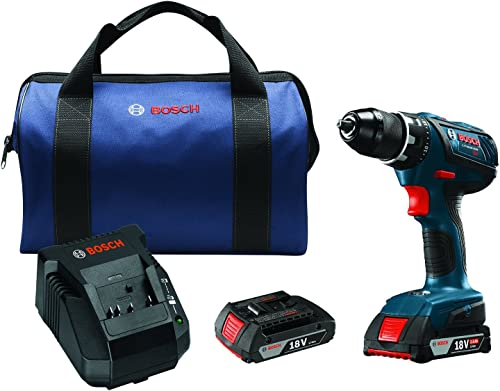 Bosch 18V Compact Tough In. Drill Driver Kit DDS181A-02 with SlimPack Batteries