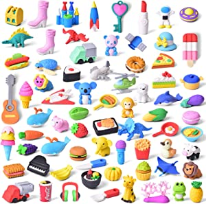 FUN LITTLE TOYS 72 PCs Pencil Erasers for Kids Classroom Prizes, Gifts for Kids, Removable Assembly Animal Puzzle Erasers for Party Favors Carnivals Gifts School Supplies Novelty Toys, Easter Egg Stuffers