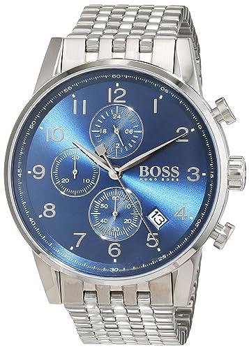b8fadd3d052a Hugo BOSS Reloj Cronógrafo para Hombre de Cuarzo con Correa en Acero  Inoxidable 1513498  Amazon.es  Relojes