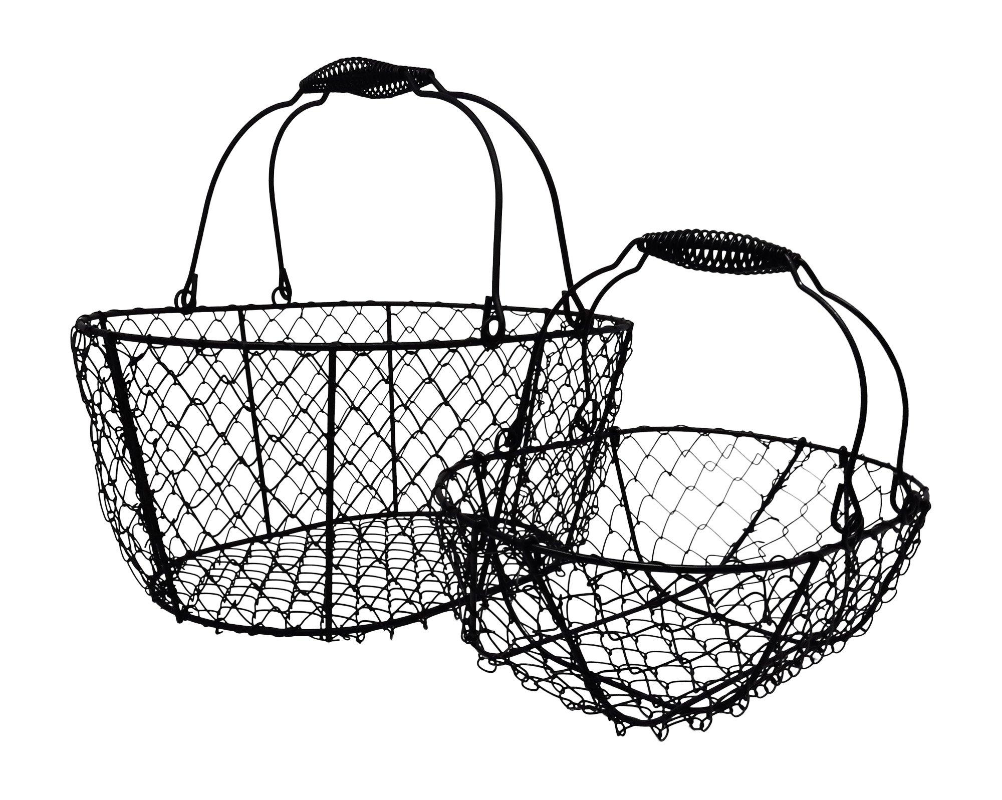 wire egg baskets  chicken egg collecting basket  vintage