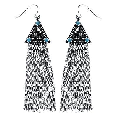 1ba3e0c818a6fd Front Row Silver Colour Long Drop Chain Tassel Earrings: Amazon.co.uk:  Jewellery