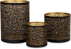 Set of 3 Black and Gold Metal Decorative Hurricane Candle Holders with 3 complimentary Pine Scented Votive tealight Candles Included. Elegant Lantern Style Centerpiece. Home décor Room Accents
