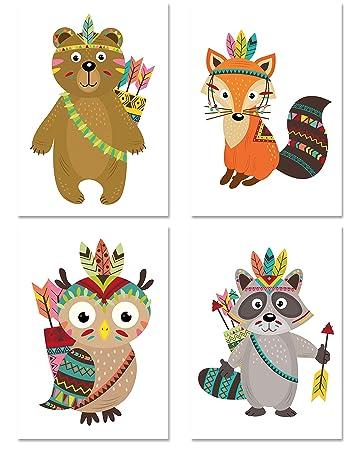 PICSonPAPER Kinder Poster 4er-Set INDIANER, ungerahmt DIN A4 ...
