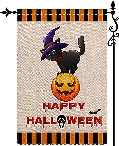 Coskaka Happy Halloween Witch Cat Garden Flag Vertical Double Sided,Black Orange Pumpkin Bat Buffalo Check Plaid Rustic Farmland Burlap Yard Lawn Outdoor Decor 12.5x18 Inch