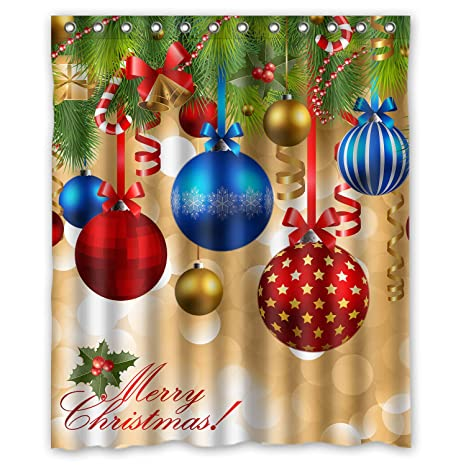 Colorful Christmas.Fmshpon Christmas Xmas Colorful Christmas Balls Hang On Pine Tree With Ribbon Waterproof Polyester Fabric Shower Curtain Size 60 X 72 Inches