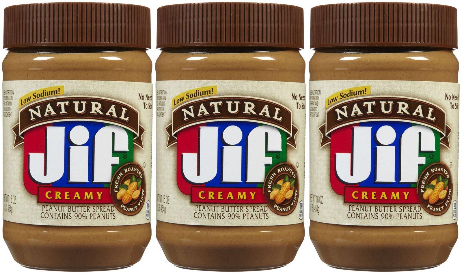 Jif Natural Creamy Peanut Butter, 16 oz, 3 ct by Jif