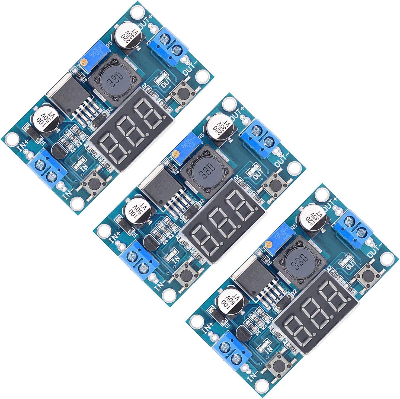 Valefod 3 Pack LM2596 DC to DC Voltage Regulator 4-40V to 1.5-35V Buck Converter with LED Display