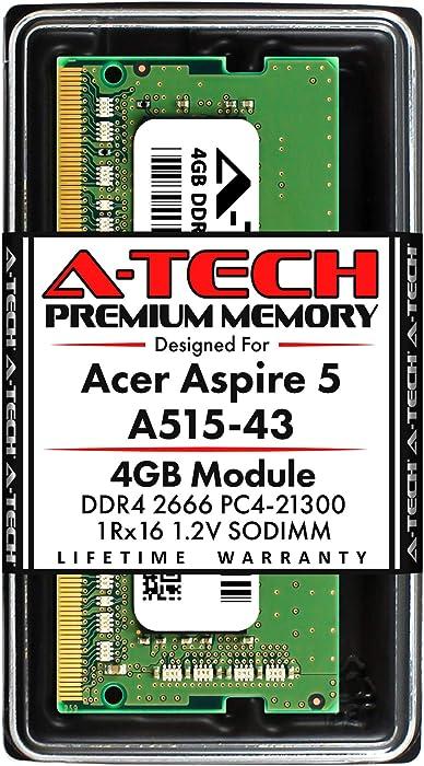 A-Tech 4GB RAM for Acer Aspire 5 Slim Laptop A515-43 | DDR4 2666MHz SODIMM PC4-21300 260-Pin CL19 1.2V Non-ECC Unbuffered Memory Upgrade Module