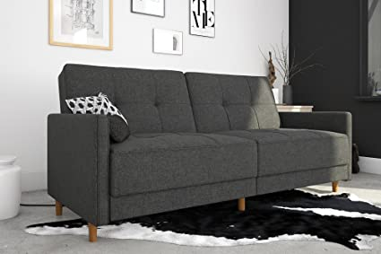 DHP Andora Coil Futon Sofa Bed Couch with Mid Century Modern Design - Grey  Linen