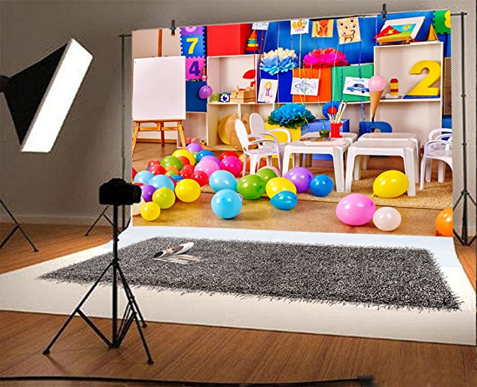 Sketchy Figures Cheerful Composition Kids Playroom Nursery Wall Design Nature Print Background for Child Baby Shower Photo Vinyl Studio Prop Photobooth Photoshoot Fun 10x15 FT Photography Backdrop