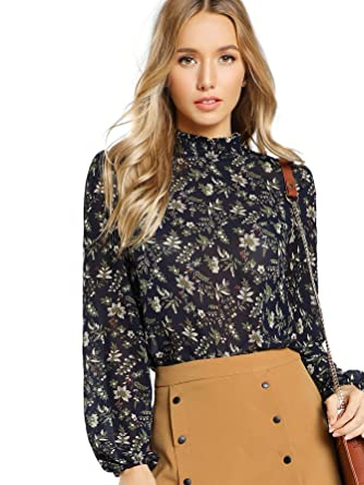d35edc7fa Floerns Women's Floral Print High Neck Puff Long Sleeve Chiffon Blouse Blue  XS