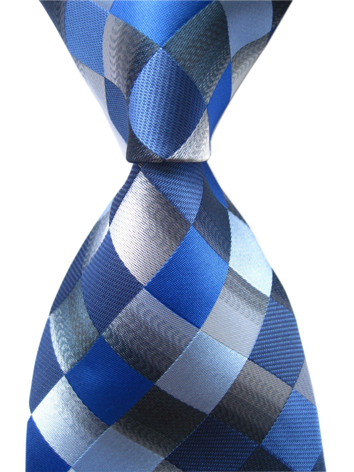 Secdtie Men's Classic Checks Dark Blue Grey Jacquard Woven Silk Tie Necktie