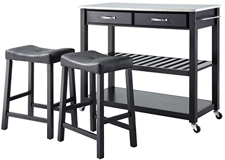 Crosley Furniture Portable Kitchen Cart with Stainless Steel Top and 24-inch Upholstered Saddle Stools  sc 1 st  Amazon.com & Amazon.com: Crosley Furniture Portable Kitchen Cart with Stainless ... islam-shia.org