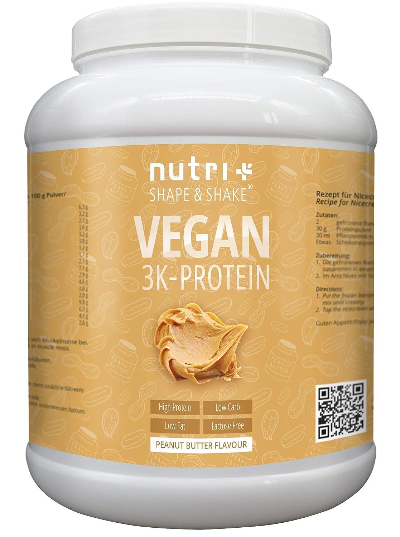 PROTEINPULVER VEGAN Erdnussbutter 1kg | 83,8% Eiweiß | Nutri-Plus Shape & Shake 3k-Protein