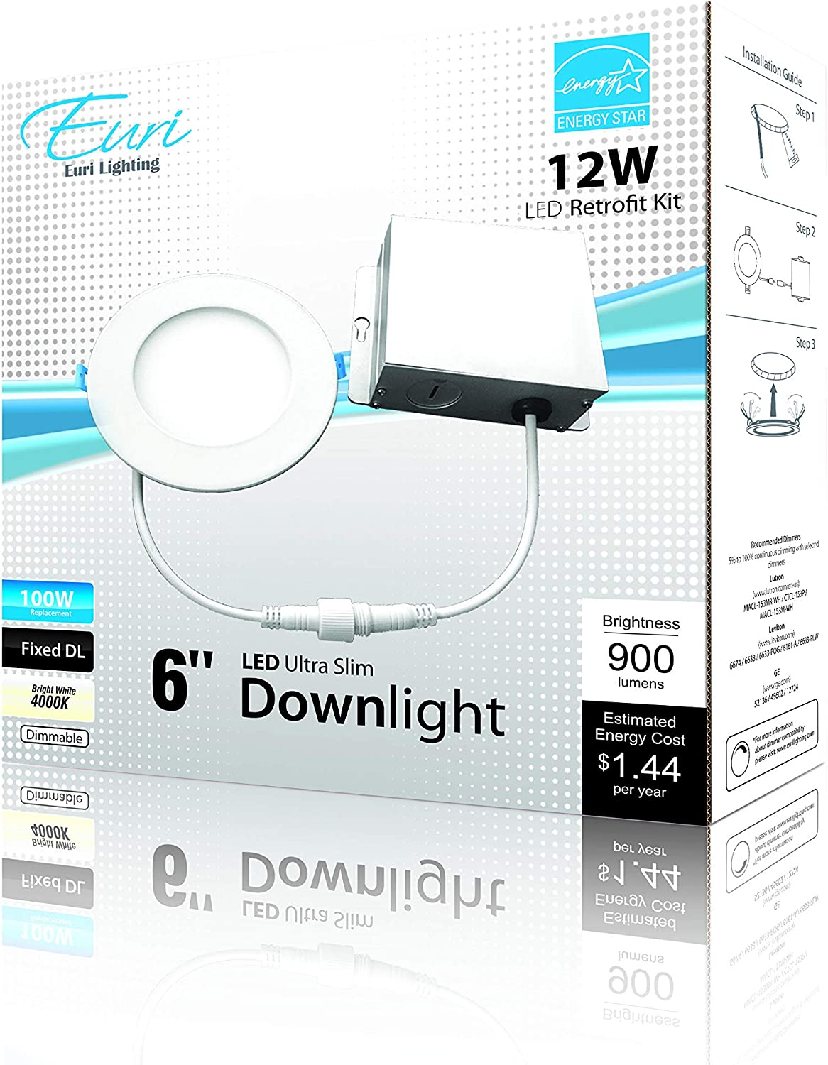 Euri Lighting DLC6S-2040e Ultra-Slim Downlight 6 Inch Circular Bright White
