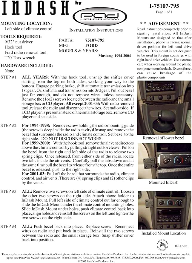 Padholdr Edge Series Premium Tablet Dash Kit for 2002-2006 Mitsubishi Lancer Models Pad Holdr PHE75129-702
