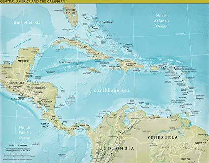Amazon.com: Map Poster - Central America Physical Map 24\