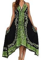 Sakkas Serenity Embroidered Batik Halter Dress