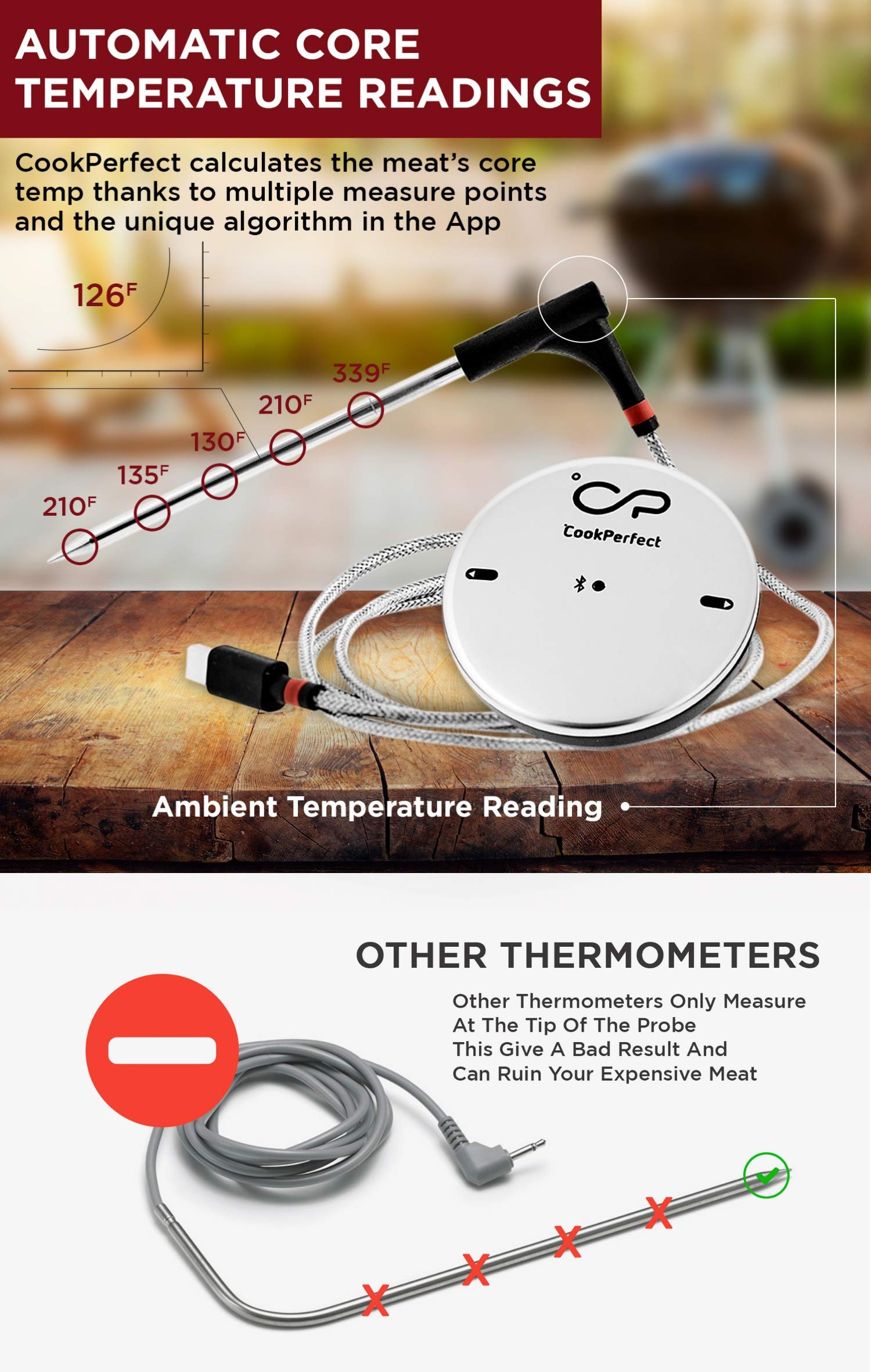 CookPerfect Wireless Meat Thermometer with 400ft Bluetooth Range | Automatic Core and Air Temperature Readings | for BBQ, Oven and Grill Cooking (1 Probe Included) by CookPerfect (Image #3)