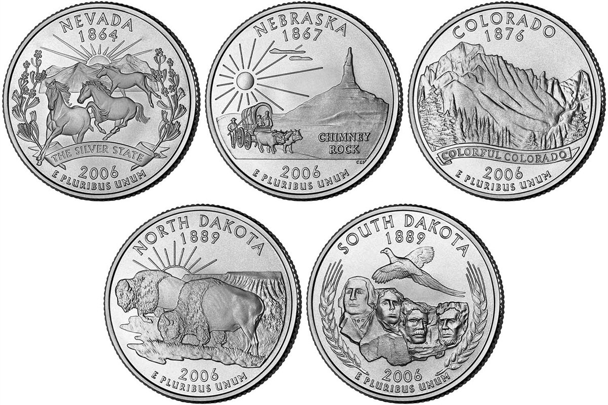 2007 P /& D United States Quarter Collection Brilliant Uncirculated 10 Coins