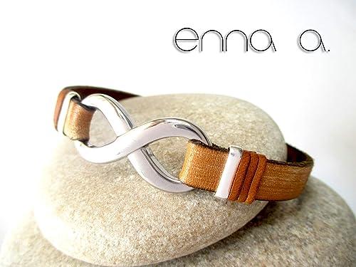 Cuero marrón, infinito acero inoxidable, plata N 2, pulsera ...