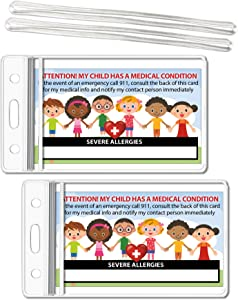 My Child Has Severe Allergies Medical Condition ICE Alert in Case of Emergency I.D. Identification Wallet Card Heavyweight 32 Pt. CardStock - Our Thickest (Qty. 2 w/Sealable Pouches)
