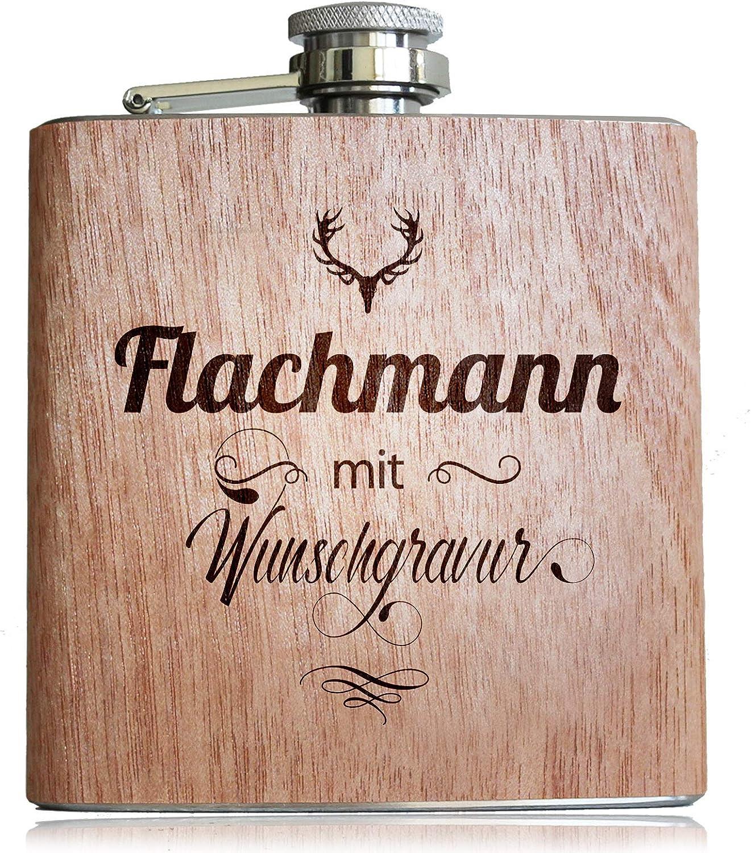 Flachmann aus Holz mit pers/önlicher Namens Gravur und Adler Kopf Geschenk Idee f/ür M/änner