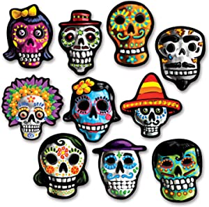 Beistle Miniature Day of the Dead Cutouts 10 Piece Halloween Decorations, Skeleton Face Signs, 4.75