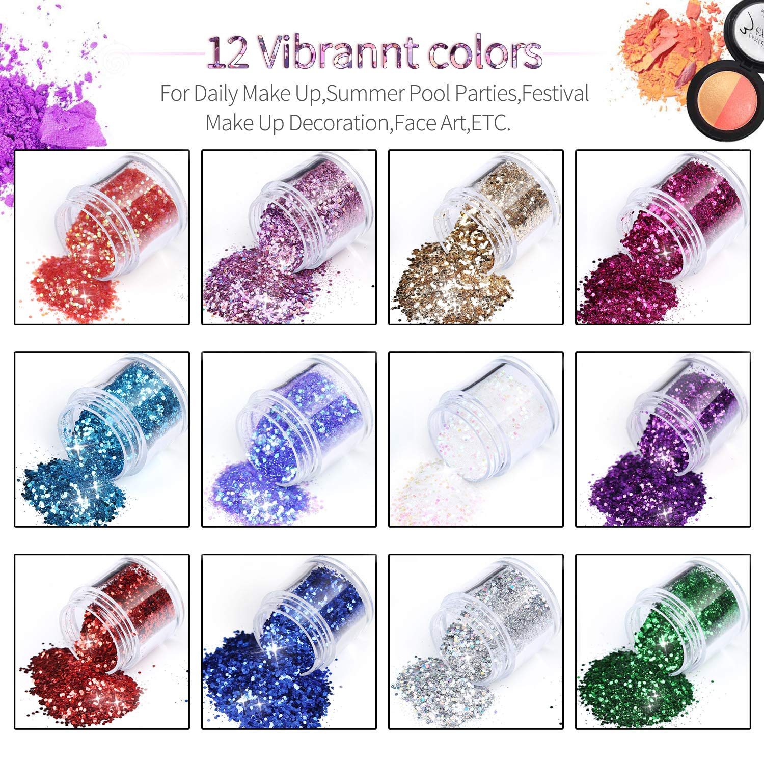 Body Face Glitter 12 Colors Tenva Chunky Cosmetic Glitters Set for Nails Hair Paillette Sparkling Beauty Decoration The Best Festival Dust and Dance Glitter Kit