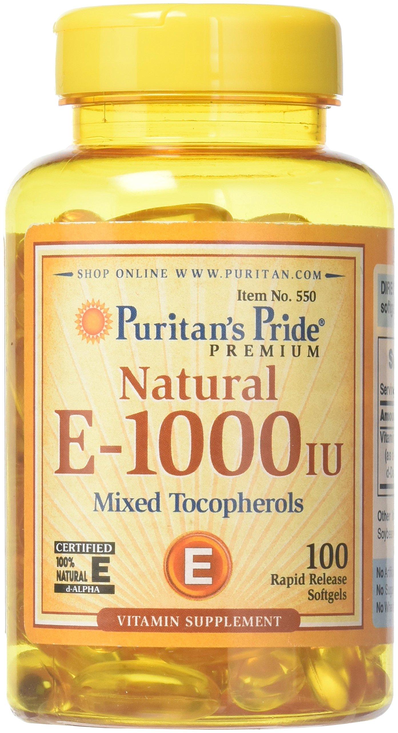 Puritans Pride Puritan's Pride - Mixed Tocopherols Natural- Softgels, Vitamin E, 100 Count